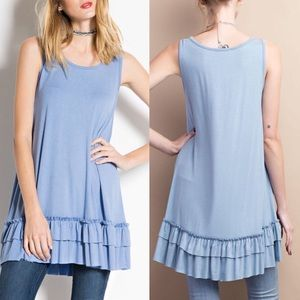 Pink Peplum Boutique Tops - 🆕ARRIVAL!Round neck ruffle sleeveless tunic top