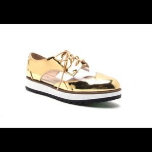 Gold mirror shiny lace up shoes sneakers 