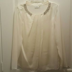 DKNYC Tops - White studded blouse