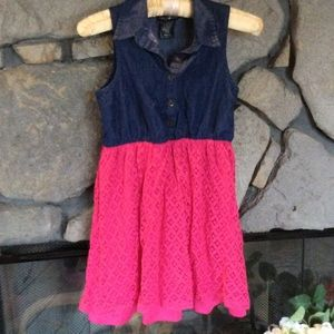 Kandy Kiss Other - Sleeveless dress faux denim & pink lace
