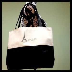 Handbags - black & white Paris tote