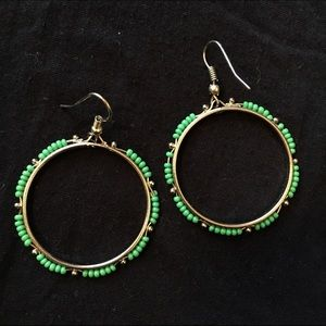 Jewelry - Silver dangly hoops with green bead detail