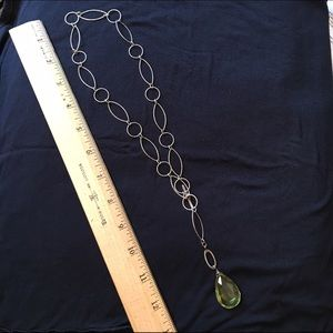 Jewelry - Long pendant necklace with green stone