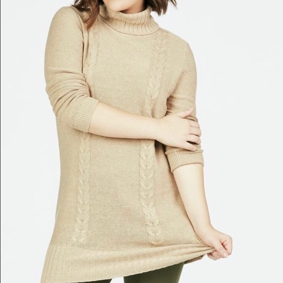 88200981730 JustFab Sweaters | Hp Cable Front Tunic Heather | Poshmark
