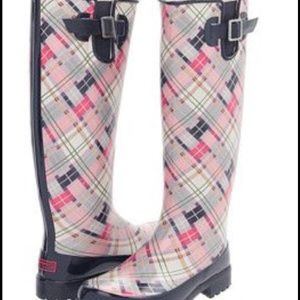 Sperry Shoes - Sperry Pink and Navy Plaid Rubber Boots