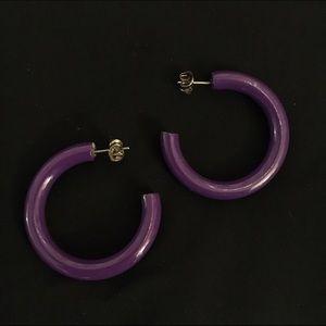 Jewelry - Purple plastic hoop earrings