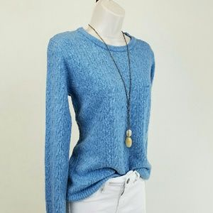 Bass Sweaters - Blue cable knit sweater