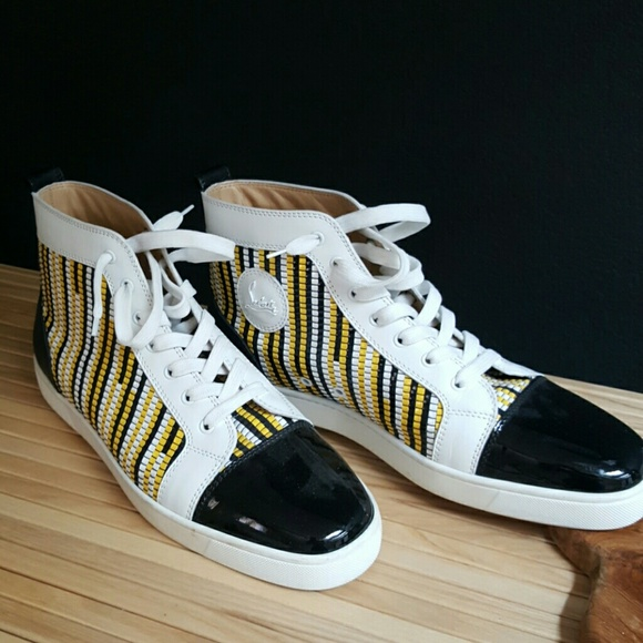 lowest price d05af 1e30e black, white, yellow hightop louboutin
