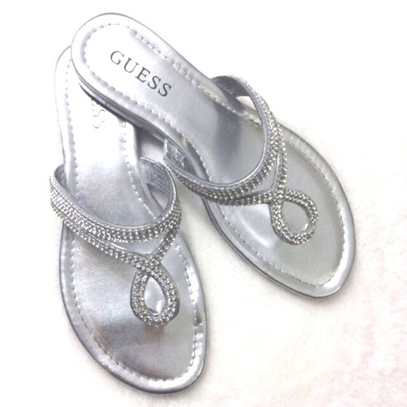 dc45e1c041671 Guess Shoes - Guess Silver Rhinestone Sandals