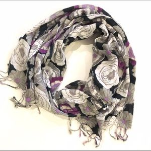Accessories - Purple floral scarf with fringe