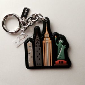 NWT Coach NYC Skyline Leather Key Fob