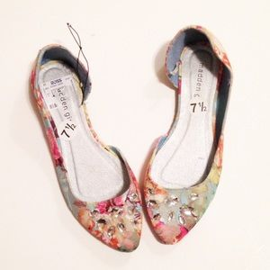 Madden Girl Shoes - Madden Girl Jeweled Floral Flats Lace Overlay