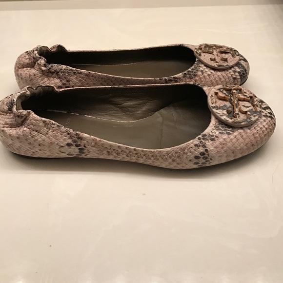 ceaa73261c30 Tory Burch Snake Print Reva Ballerina Flat. M 58826bb92ba50a144b013973