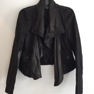 Vince Leather and Linen Jacket
