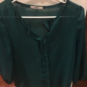 Boutique Timing Green Sheer Blouse