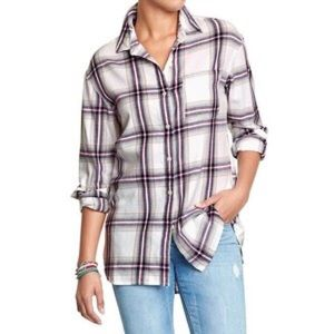 Old Navy boy friend plaid shirt S