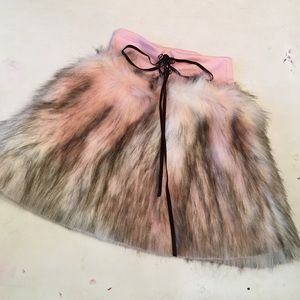 MonnaLisa Other - Girls faux fur pink/brown/white skirt