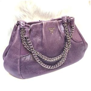 Prada Handbags - PRADA Purple Cervo Lux Shimmer Chain Shoulder Bag