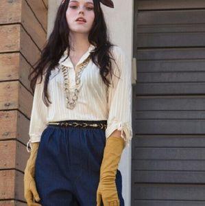 70s Vintage semi SHEER white pin stripe blouse top