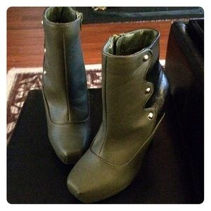 Dark Olive Green and Black Booties