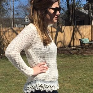 Sweaters - Lace Hem Sweater- Medium