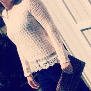 Lace Hem Sweater- Medium
