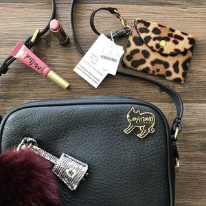 Leopard calf hair coin purse