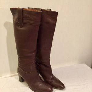 J Crew Riding Tall Brown Leather Boots 9