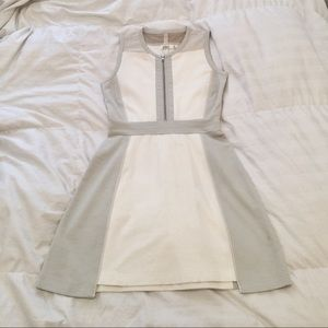 Aiko - White and Gray Monochrome Dress