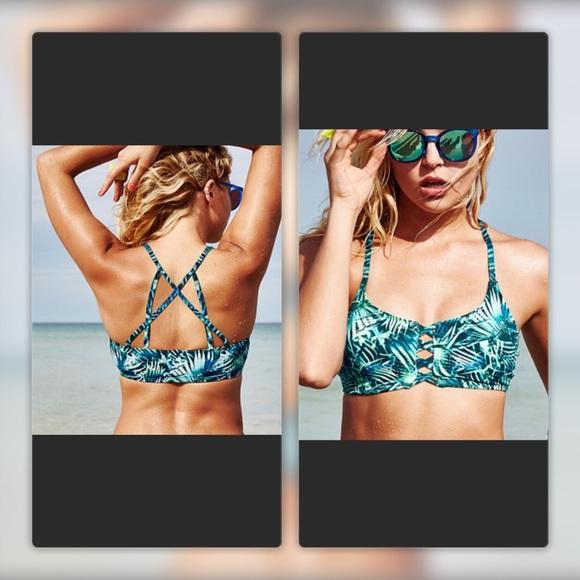 Victoria/'s Secret PINK Blue Green Tropical Palm Cage Front Strappy Bikini Top