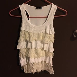 Wet Seal Cream Lace Dressy Tank Top