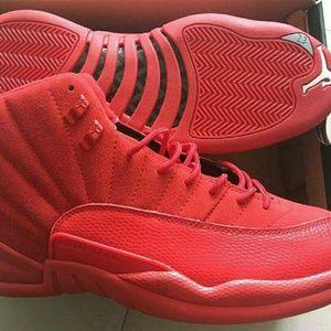 Size 13 Red Suede Jordan 12s