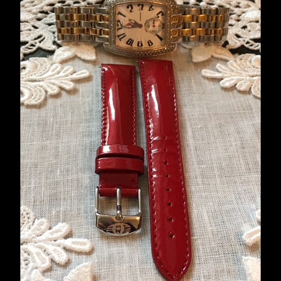 adeaaf79d Michele Red Patent Leather Watch strap. M_588288617fab3ab14c01b349