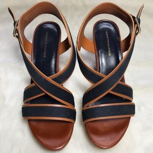 Tommy Hilfiger Shoes - Tommy Hilfiger Navy and Tan Cork Wedges