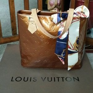 AUTH Louis Vuitton bronze vernis Houston tote