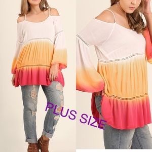 Tops - Dip Dye Open Shoulder Tunic- SUNSET