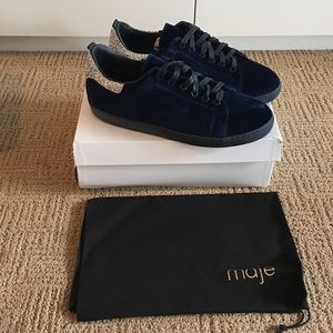Maje Shoes - • Maje • Chic Navy velvet and glitter sneakers