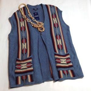 Chaps Sweaters - Chaps Aztec patterned sleeveless tunic sweater