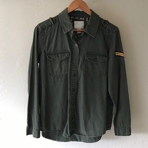 Forever 21 Tops - Army Green Military Style Button Down Embroidery