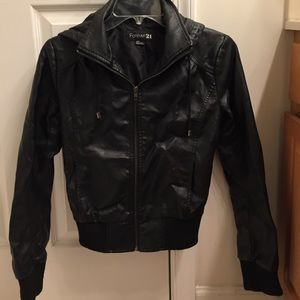 Forever 21 black leather hooded jacket