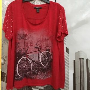 Style & Co Tops - Red shirt with bicycle