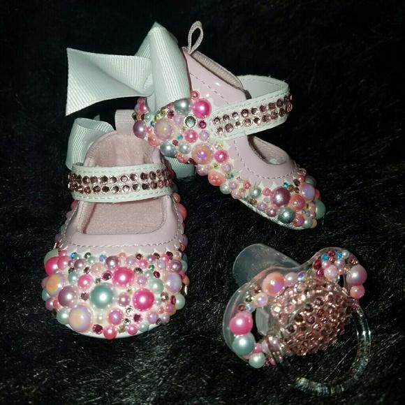 cfba9cd0717f Bling Baby Shoes W  Matching Pacifier Set