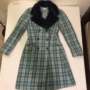 Shoshanna Plaid Coat Fur Collar Size 8 EUC