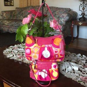 Coach Handbags - Rare Coach scarf print mini purse with wristlet