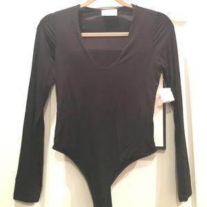 Tops - BODYSUIT - black, long sleeve, thong