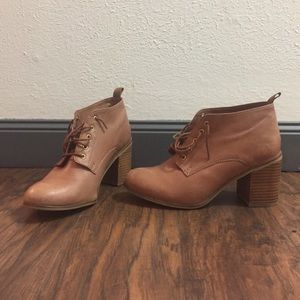 Shoemint Shoes - Brown Lace Up Booties With Heel