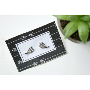 Silver Colored Abstract Earrings