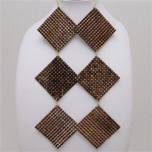 GOLD/BLACK DIAMOND SHAPED EARRINGS