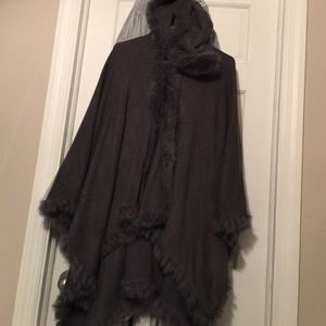Boutique Jackets & Blazers - Real rabbit fur trim hooded poncho