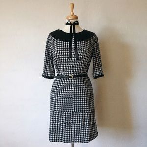 Dresses & Skirts - Houndstooth Collared Dress + Bow Tie